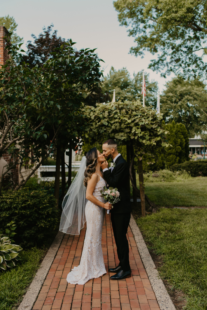 Bride and groom portraits during summer wedding