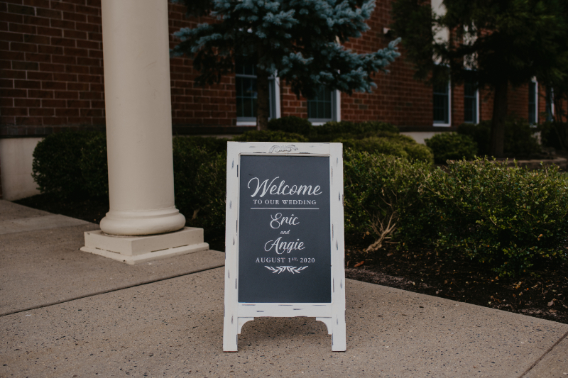 Welcome sign outside of the Church wedding in New Jersey