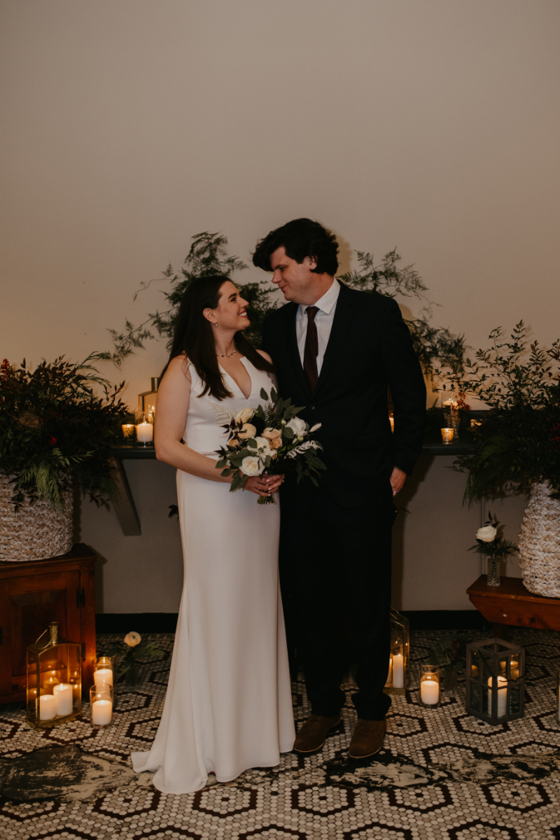 upstate new york winter wedding ceremony with candles