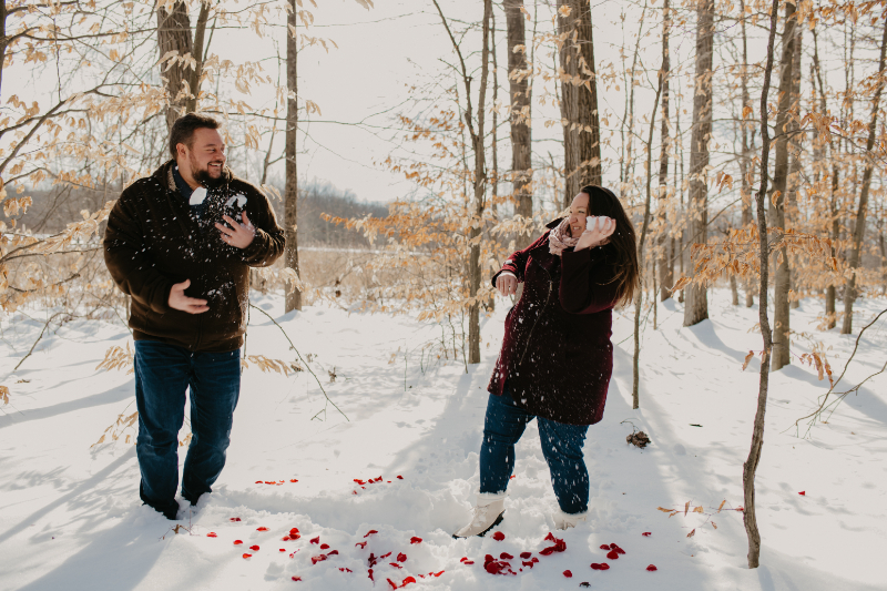 Snowball fight after getting engaged
