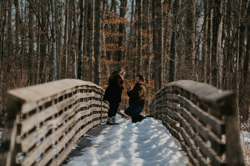 Winter proposal setting outside in New Jersey