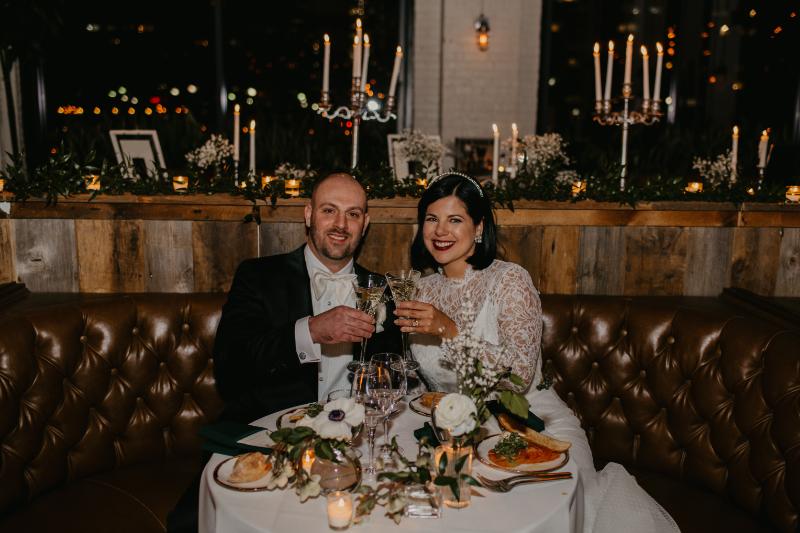 Sweetheart table wedding reception at Battello