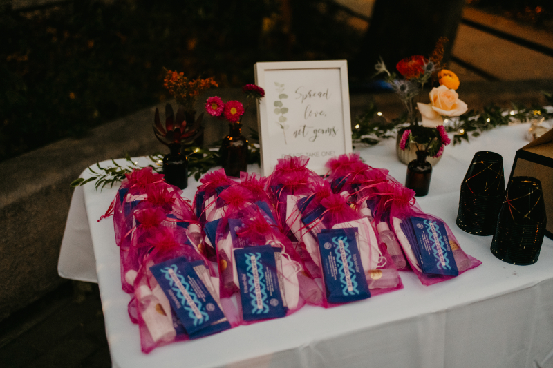 COVID friendly wedding favours at outdoor ceremony