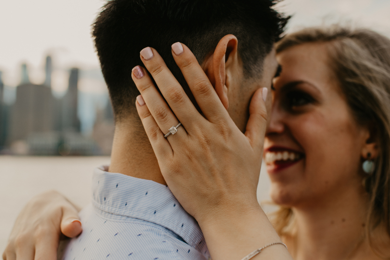 Classic ring photo during an engagement session in Brooklyn