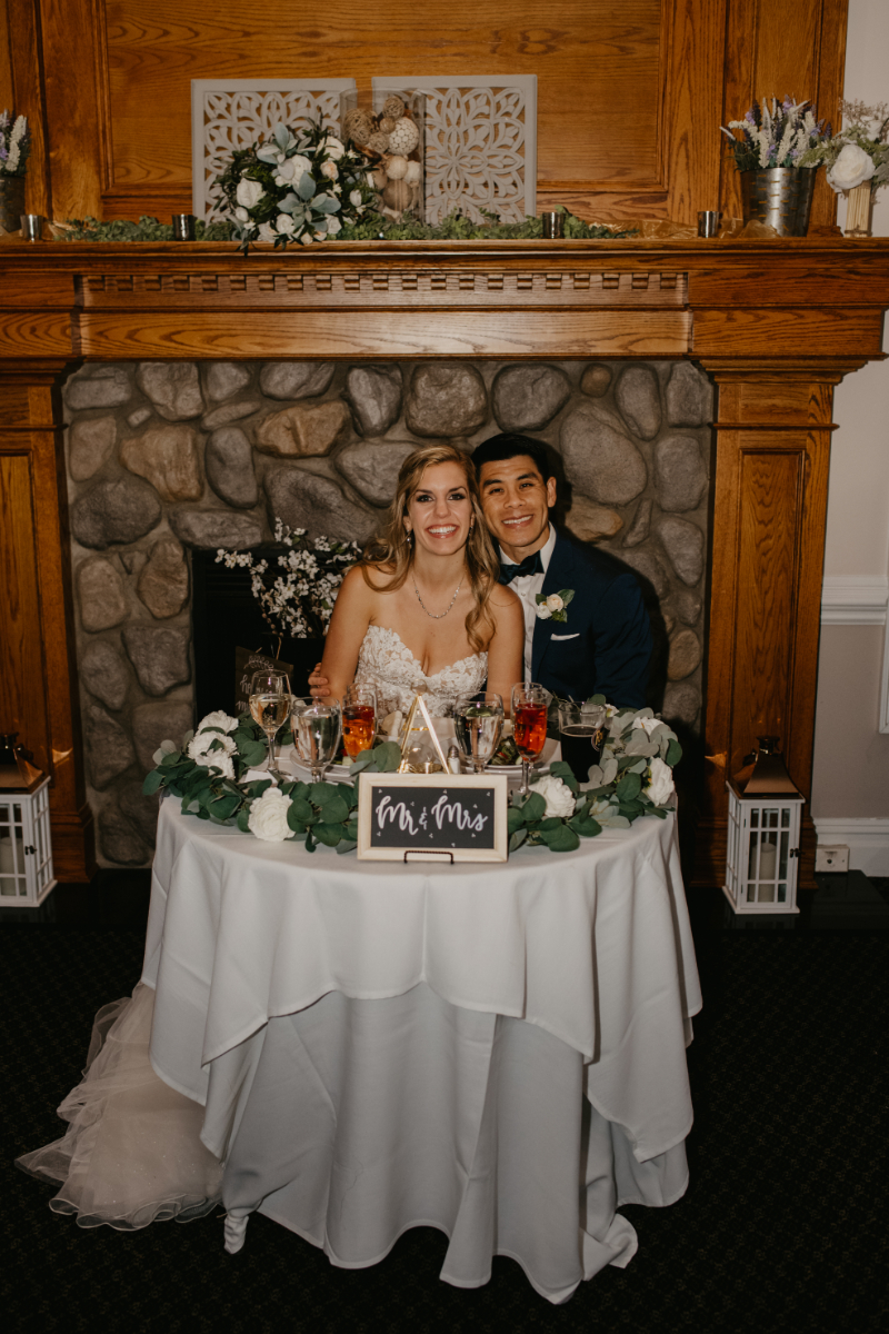 sweetheart table with bride and groom
