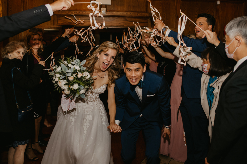 streamer exit with bride and groom