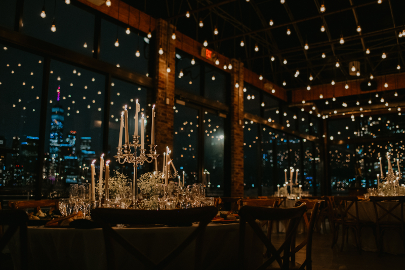 stunning candlelight wedding reception at Battello black tie new jersey wedding