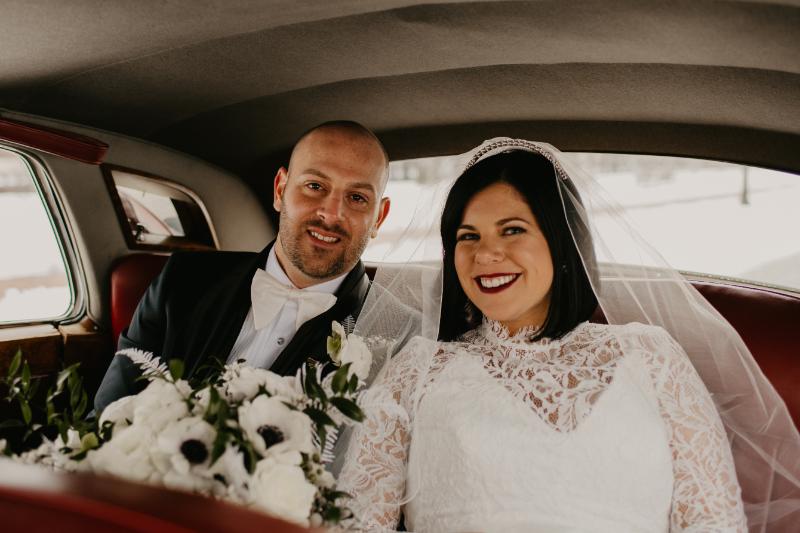 Bride and groom in getaway card