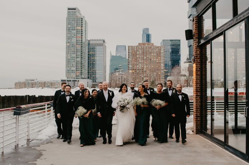 bridal party photos outdoors by new jersey waterfront