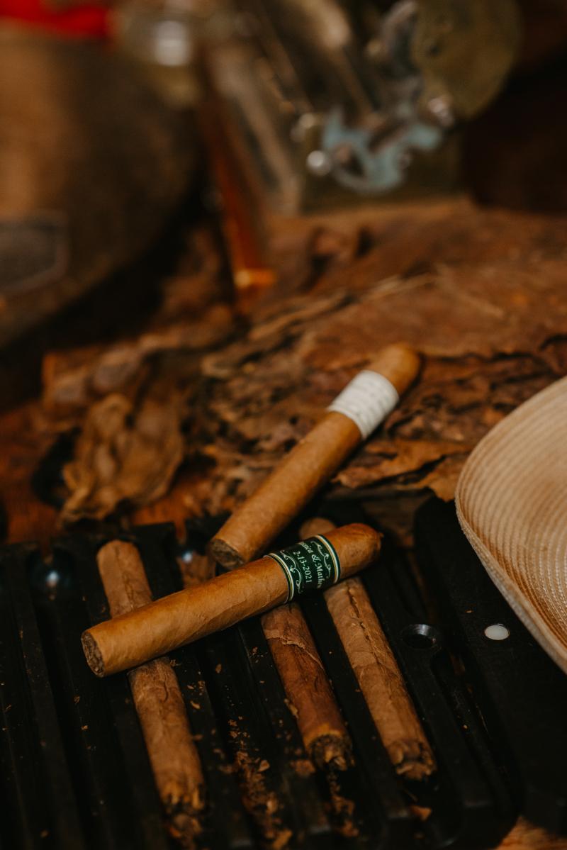 Hand rolled cigar bar at a wedding