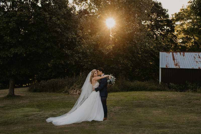 Sunset Photo of Bride and Groom at Outdoor Wedding Venue in New York