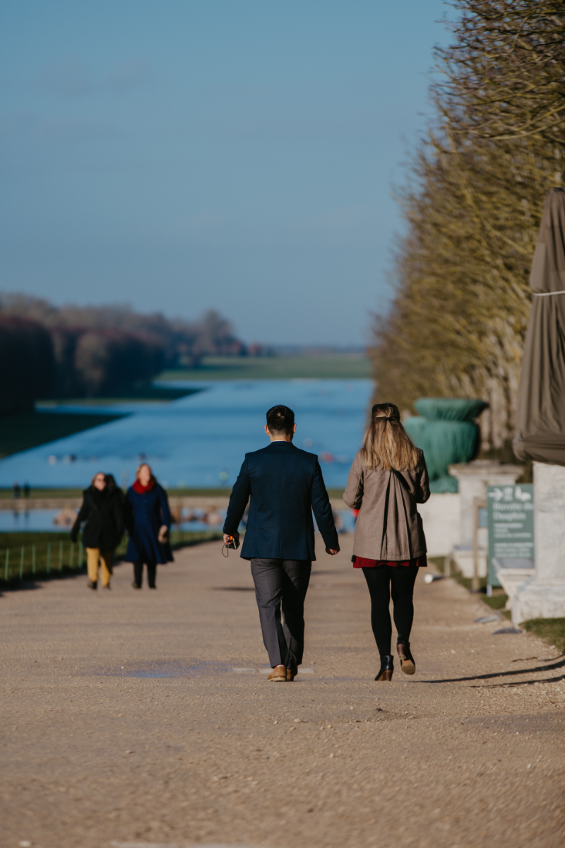 Walking down the streets of Versailles before a proposal