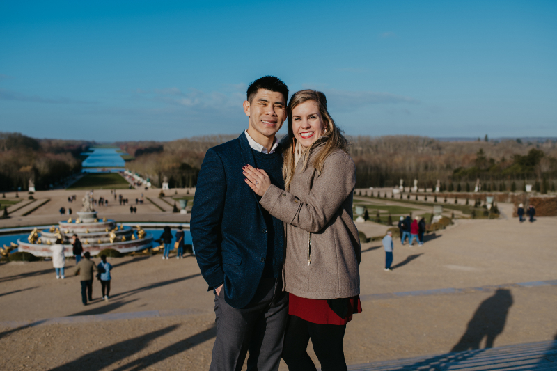 Engagement photos in front of the Garden of Versailles