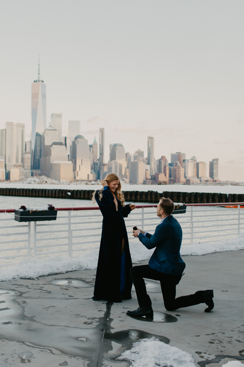 Hoboken New Jersey Proposal with NYC skyline in background