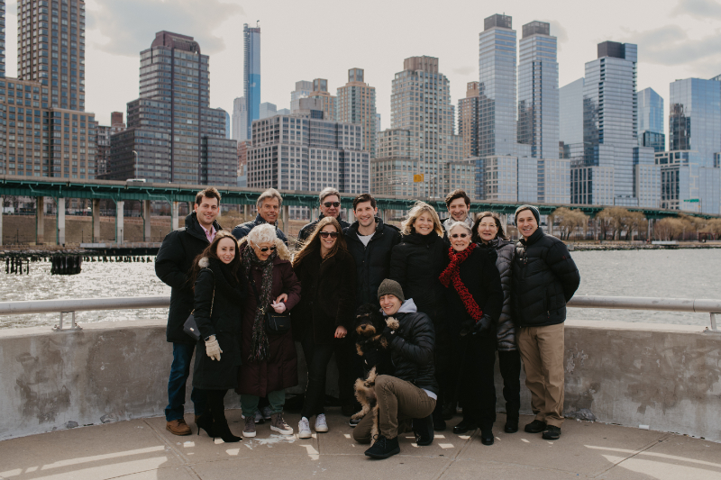 family celebrates after Hoboken proposal