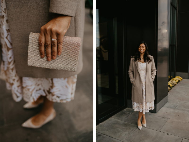 stunning bride in neutral colors outdoor jersey city wedding