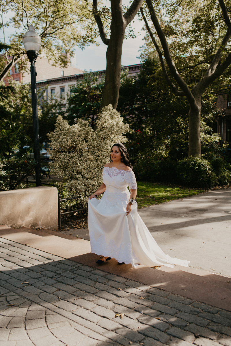 bride walking down aisle for outdoor ceremony