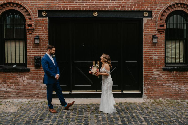 first look wedding in Hoboken NJ on court street