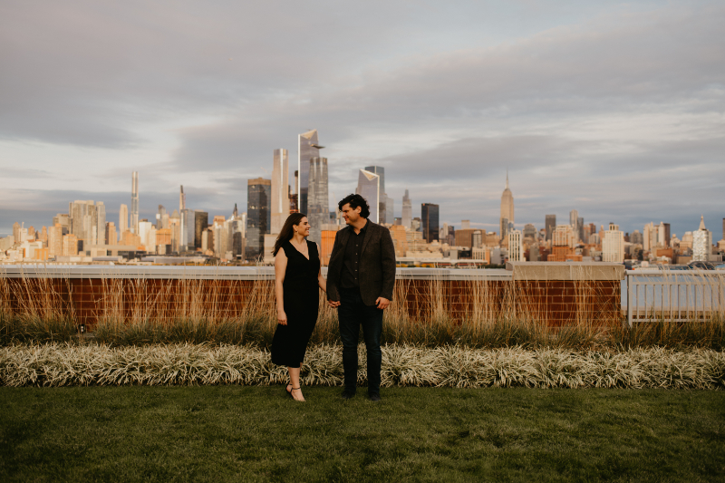 engagement photos with NYC skyline in the background