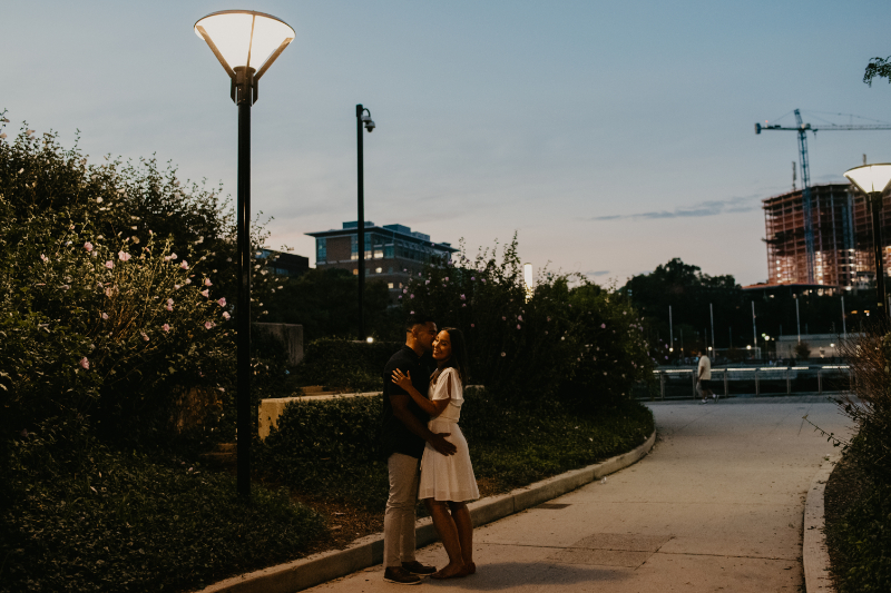 evening engagement photos