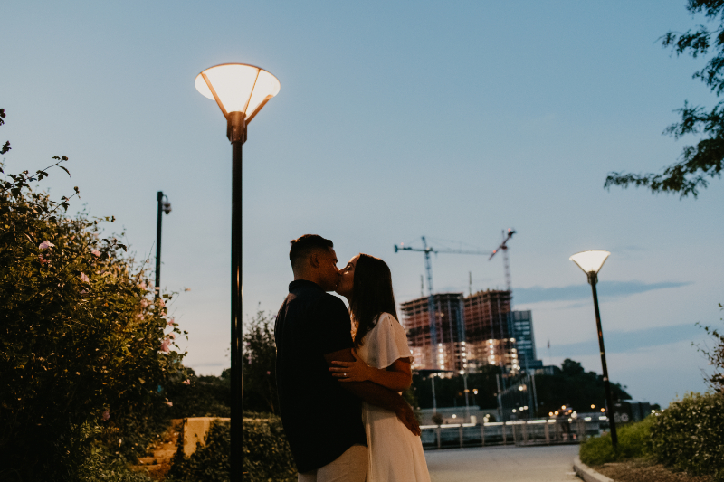 Evening engagement photos during sunset
