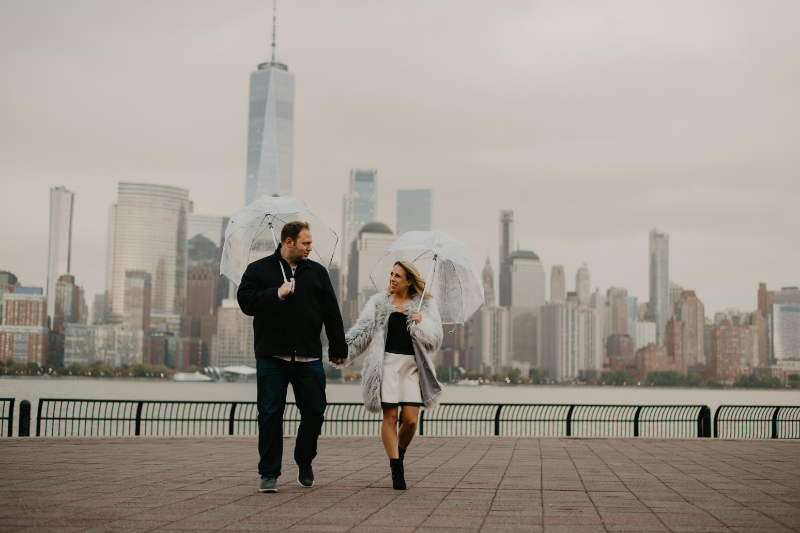 Romantic rainy engagement photos