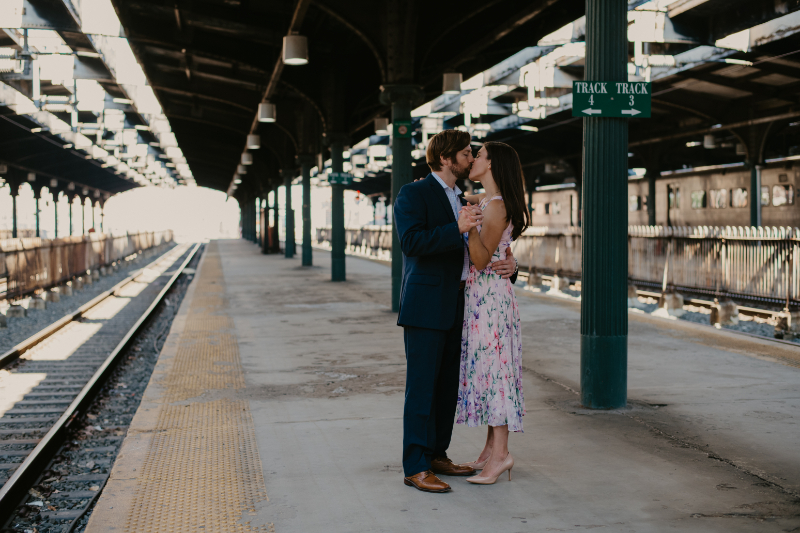 NEW JERSEY TRAIN STATION ENGAGEMENT PHOTOS