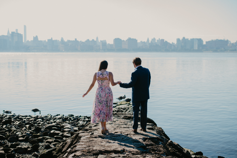 new jersey waterfront engagement photos outdoors in hoboken