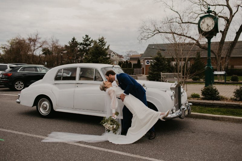 Bride and groom run off with getaway car