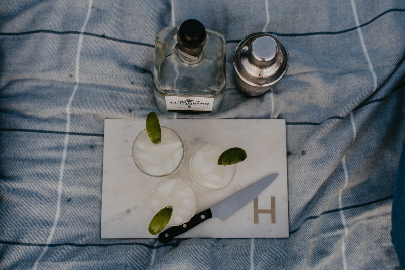 Making margaritas during New Jersey engagement photo session