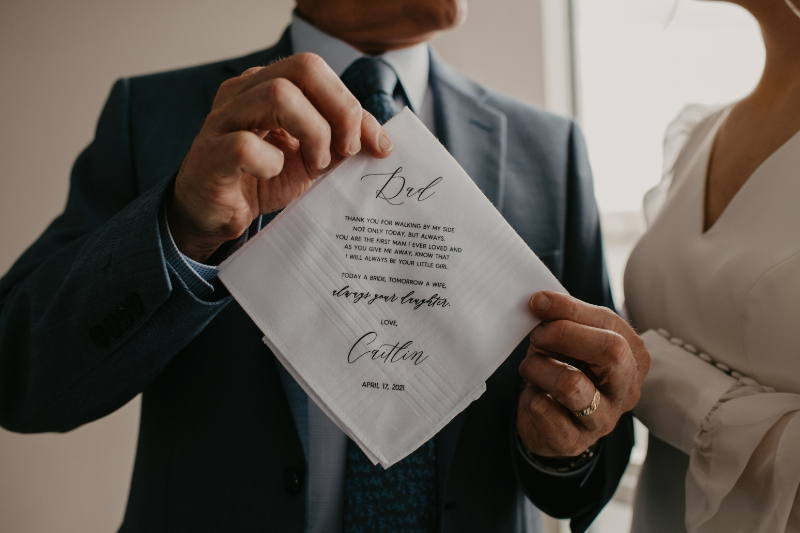 Embroidered handkerchief as gift to her dad on her wedding day