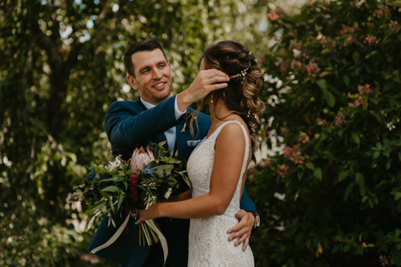 Your hair tucked behind your ear for couples photos for romantic pose ideas