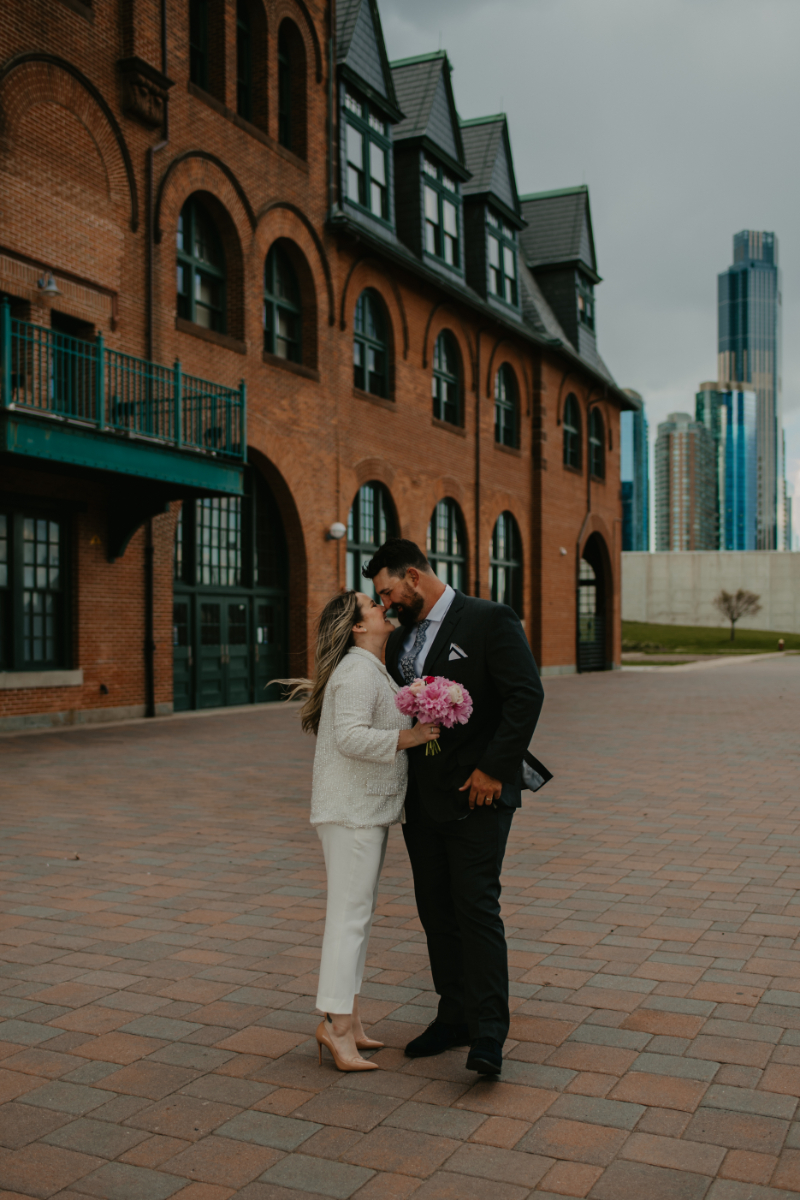 Newark Ave wedding photos with bride and groom