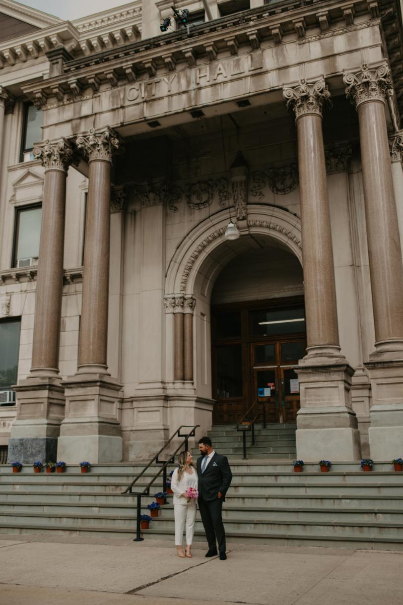 Bride and Groom Wedding Photos at City Hall