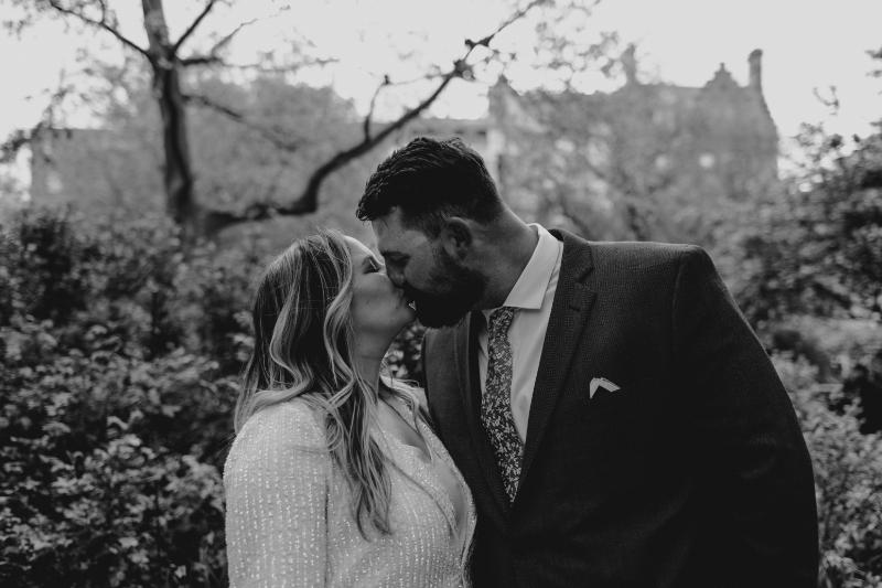 Black and White Outdoor wedding photos at Van Vorst Park