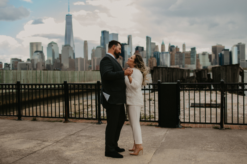 Waterfront wedding photos in New Jersey at Liberty State Park