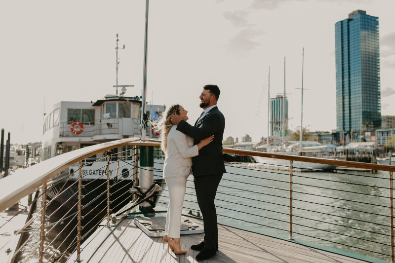Yacht wedding reception on Hudson River in Jersey City