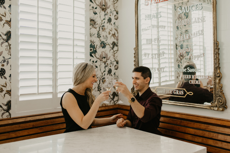 wine engagement photos
