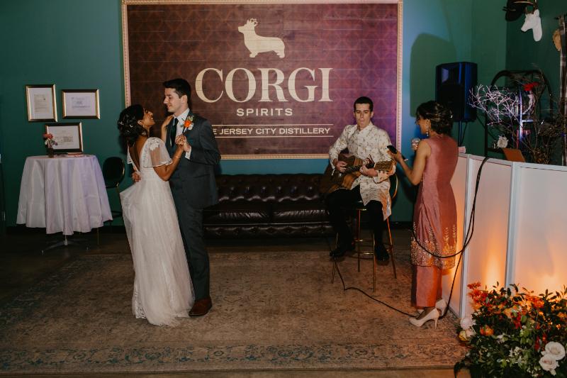 Corgi Spirits wedding reception in Jersey City - first dance between bride and groom