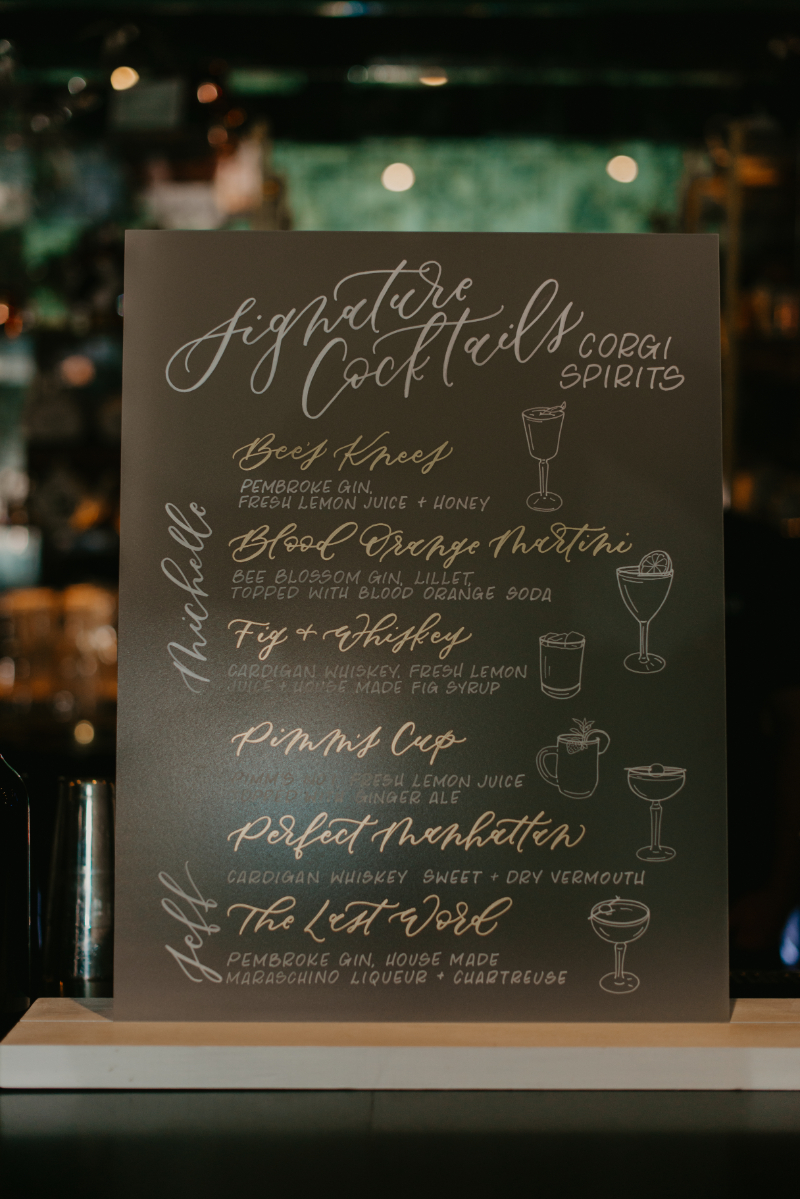 signature cocktail sign by New Jersey wedding calligrapher write pretty for me