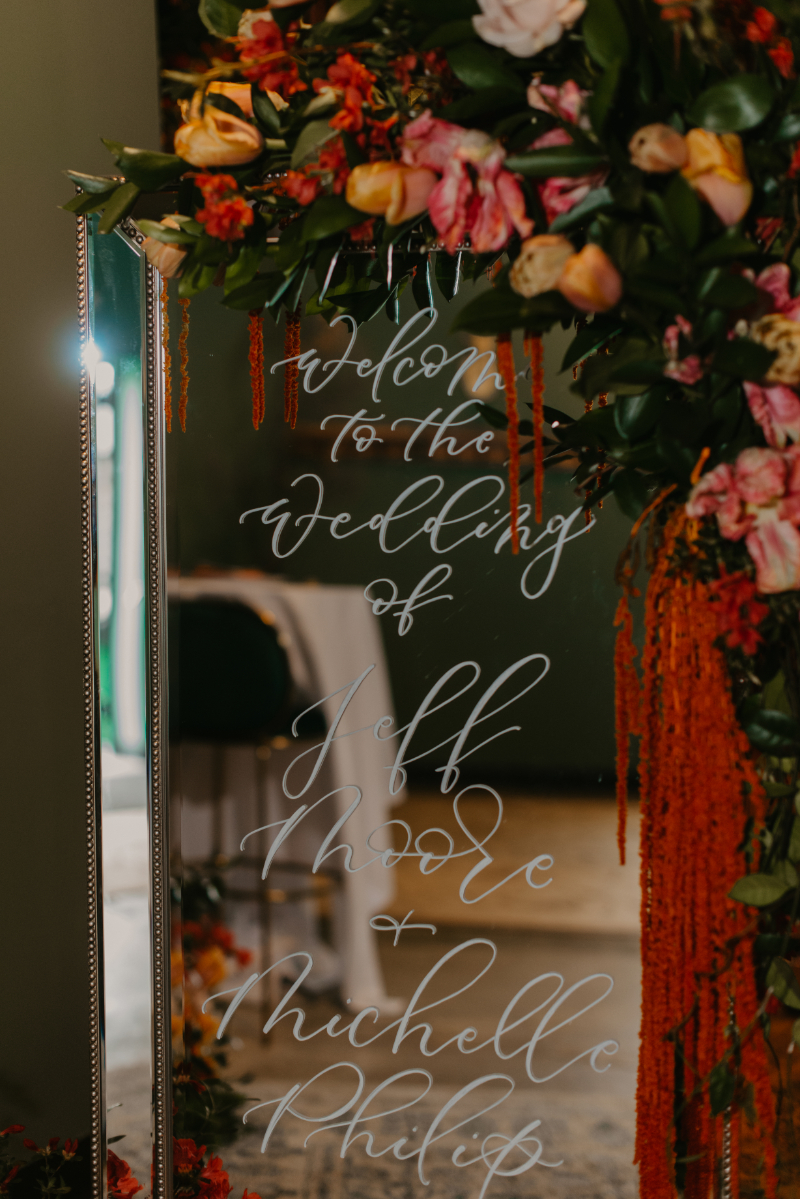 stunning mirror welcome sign by New Jersey wedding calligrapher write pretty for me