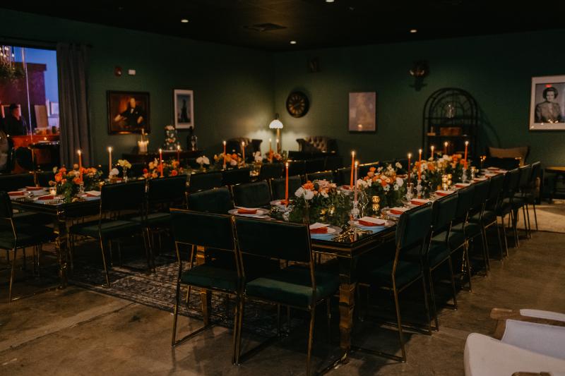 Colorful micro wedding reception decor