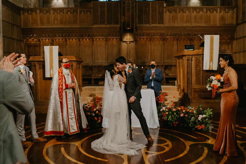 first kiss at New Jersey wedding ceremony