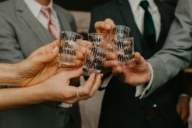 shots before the wedding ceremony