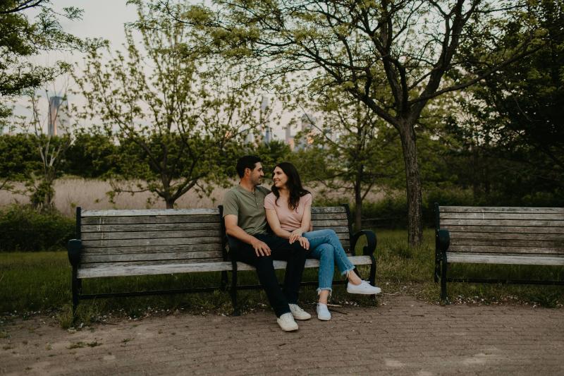 Jersey City engagement photos outdoors