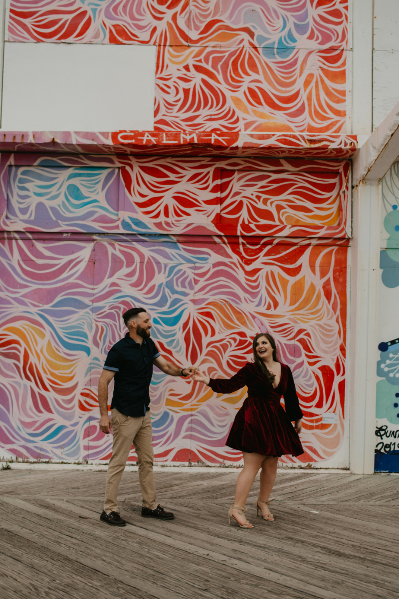 Bold patterned wall in New Jersey for engagement photos backdrop