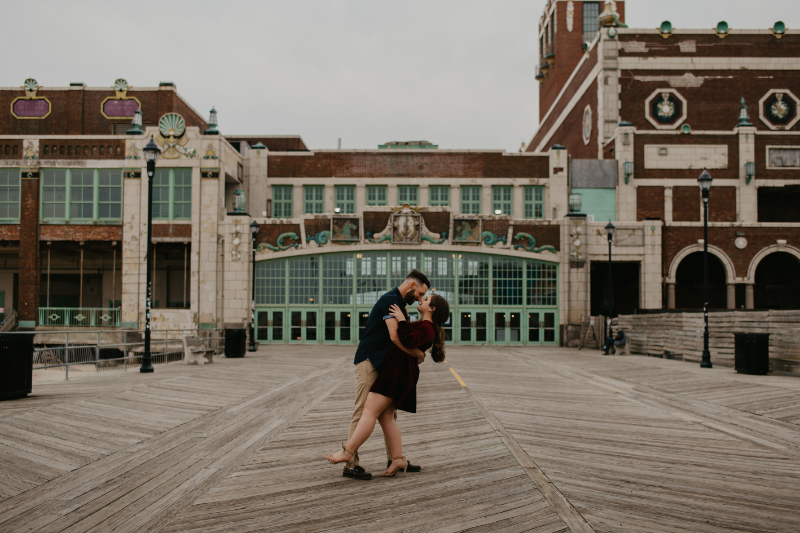 Dancing engagement photos in Asbury Park New Jersey