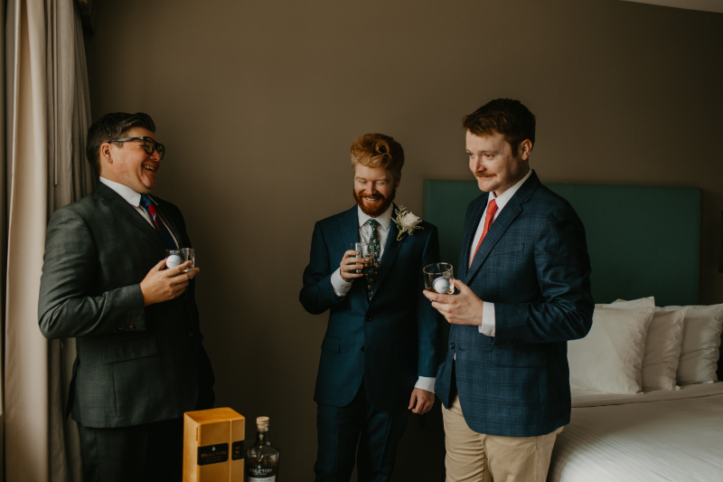 Toast during getting ready photos