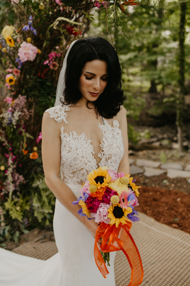 Bridal Portrait with Sunflower and Wildflower Bouquet