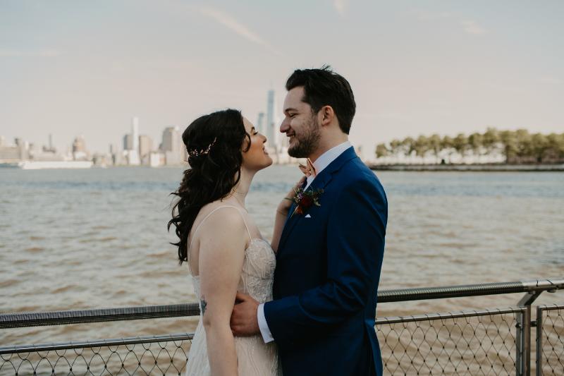 Hoboken wedding photographer on the water